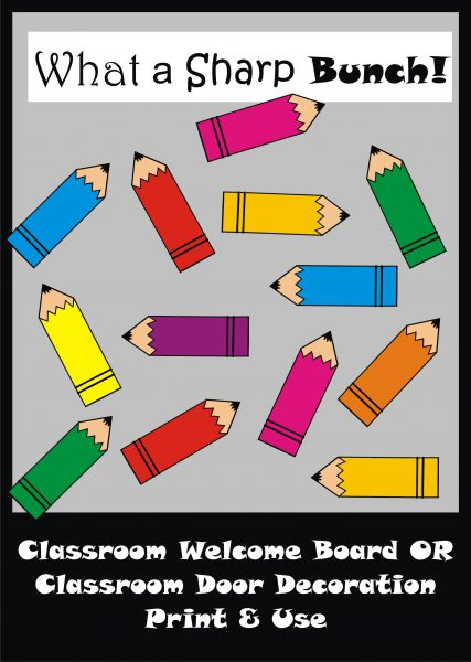 photo about Printable Door Decorations called Pencil Bulletin Board Established / Clroom Welcome Doorway Decoration - Printables - Instructors Assistance Academics