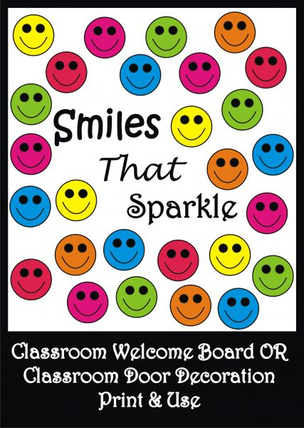image relating to Printable Door Decorations referred to as Smiley Bulletin Board Fixed / Clroom Welcome Doorway