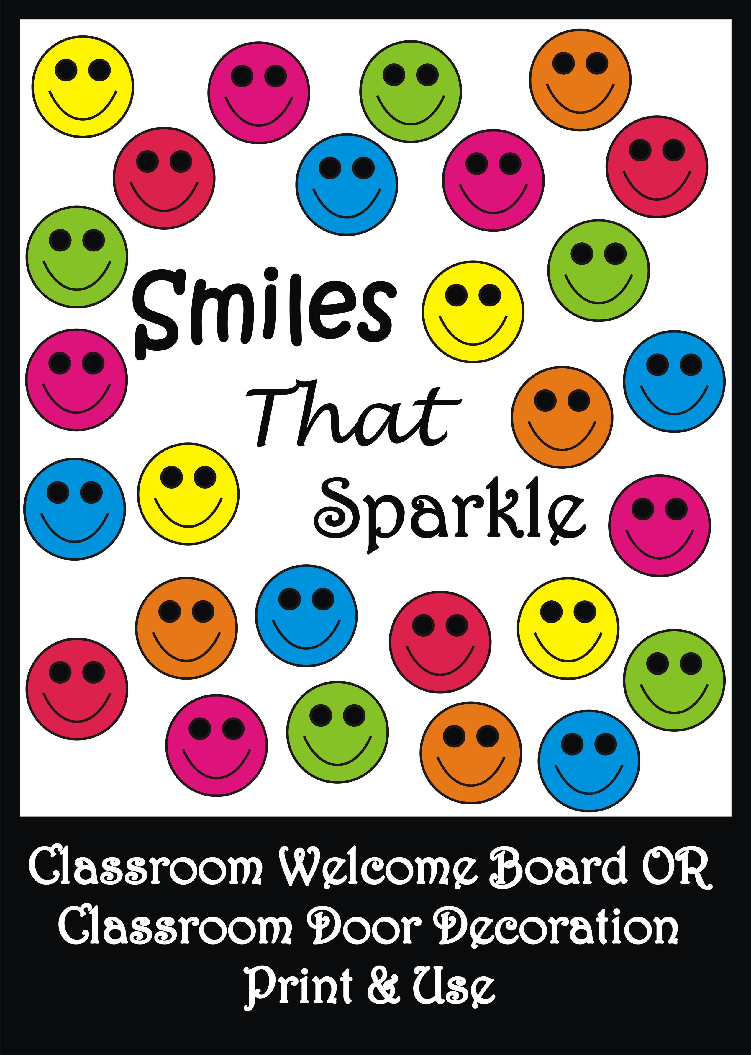 Smiley Bulletin Board Set Classroom Welcome Door Decoration