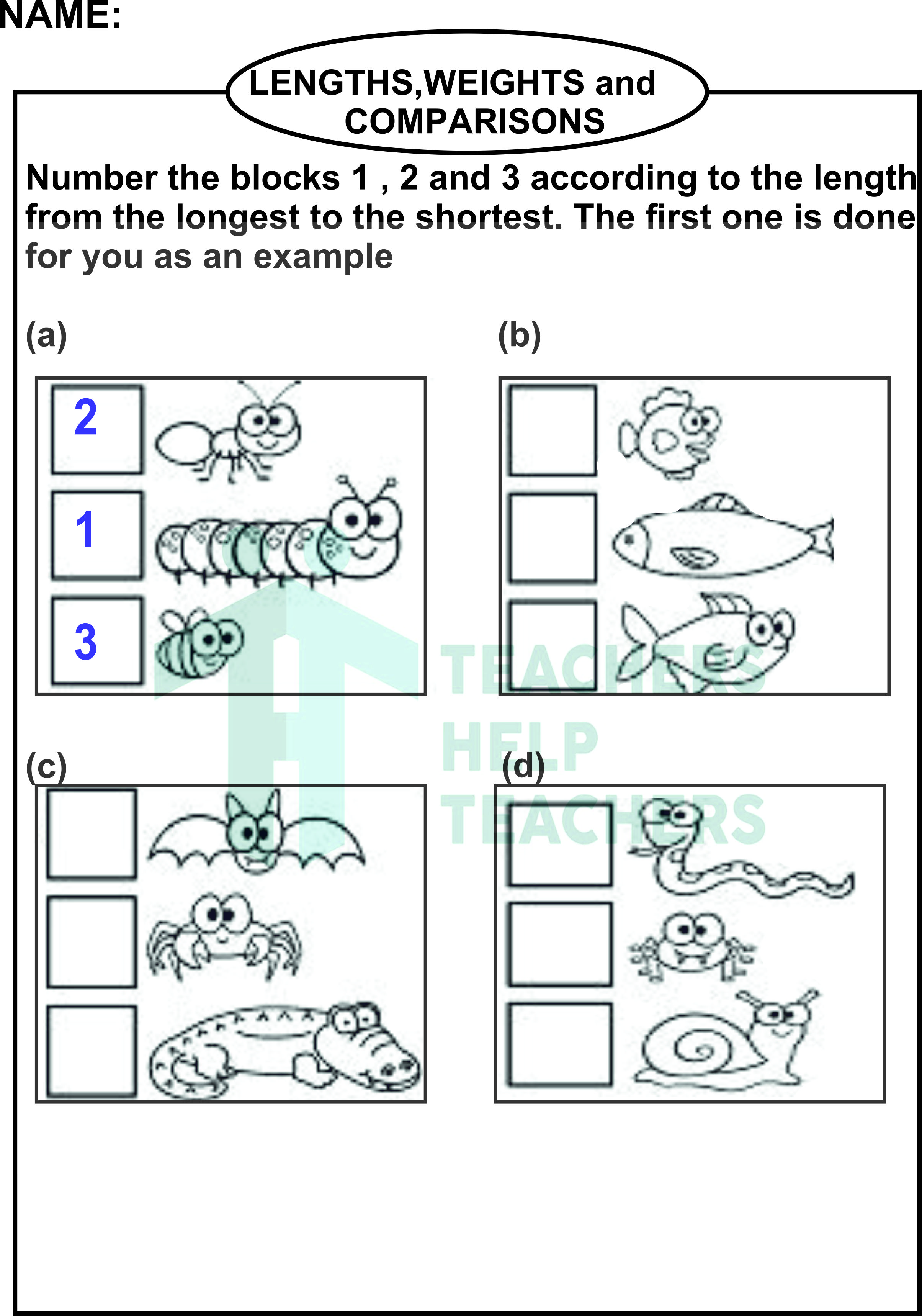 olympiad practice worksheets - Lengths weights and comparisons set 1 grade  1 - Teachers Help Teachers
