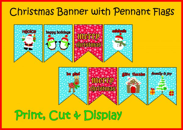 photograph regarding Happy Holidays Banner Printable titled Xmas Banner - Pennant Flags - Printable - Xmas Decor - Instructors Guidance Academics